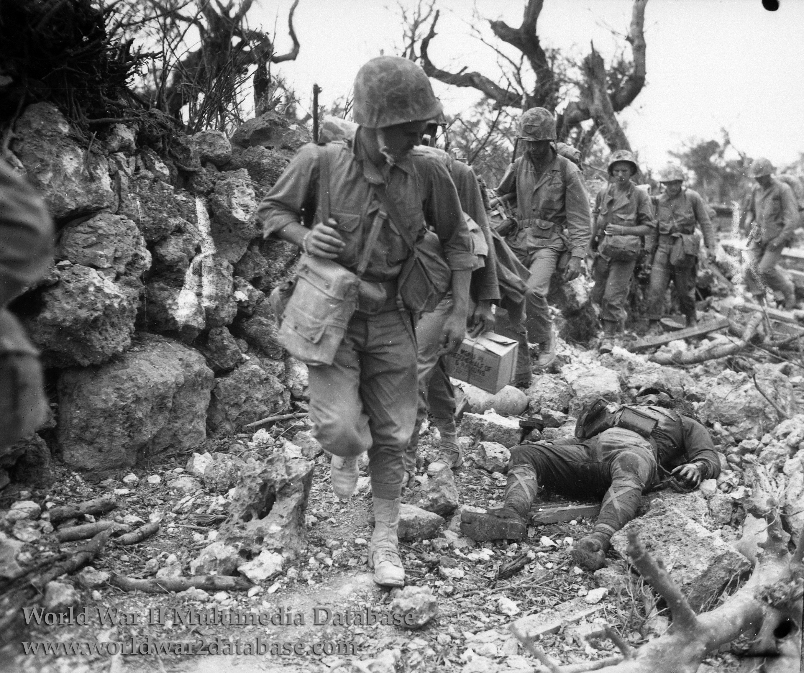 1st Marine Division Passes Dead Japanese Soldier The
