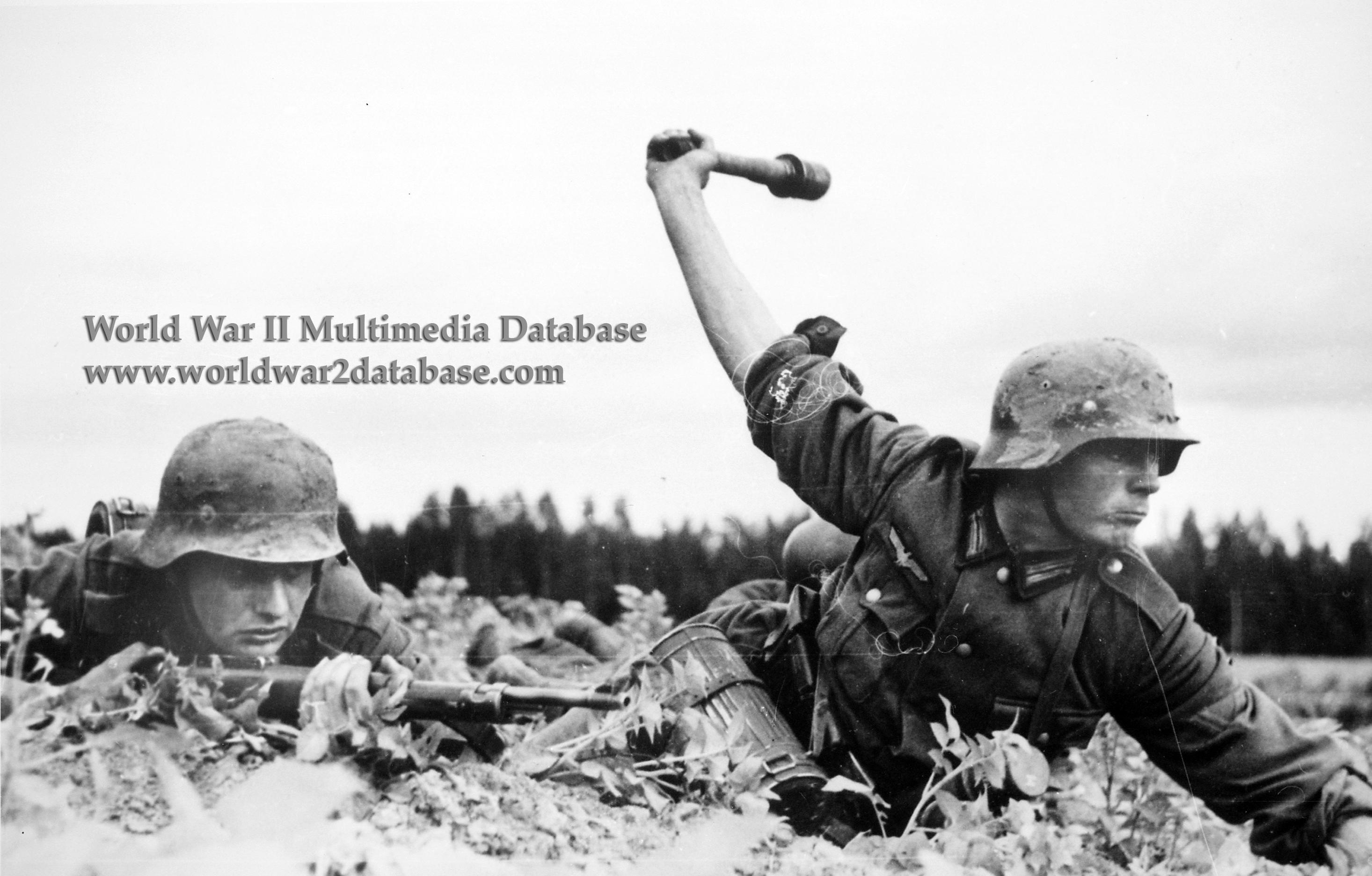 German Soldier Throws Stick Grenade | The World War II Multimedia