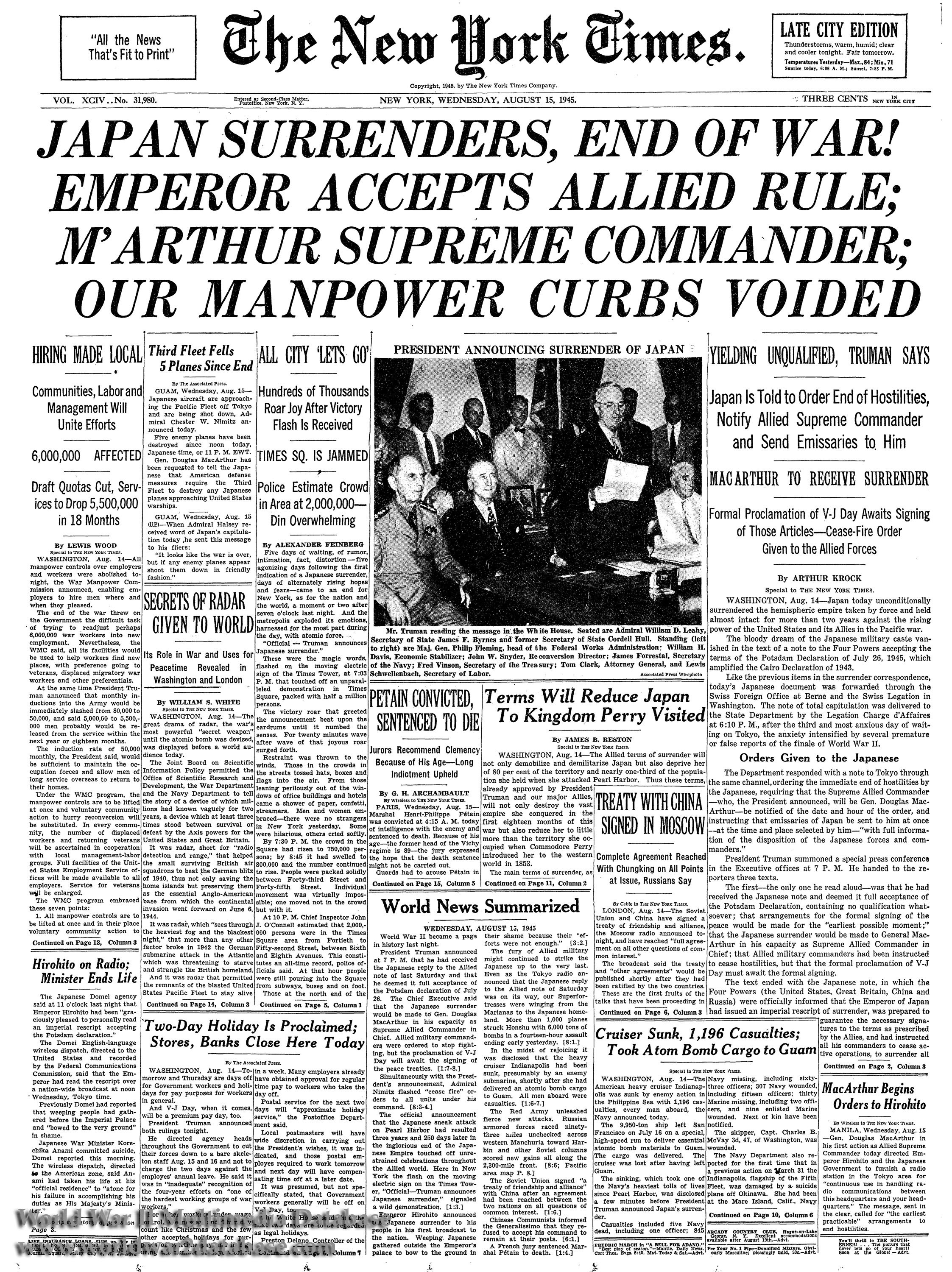 Front Pagenew York Times Design Of: New York Times Front Page, August 15, 1945