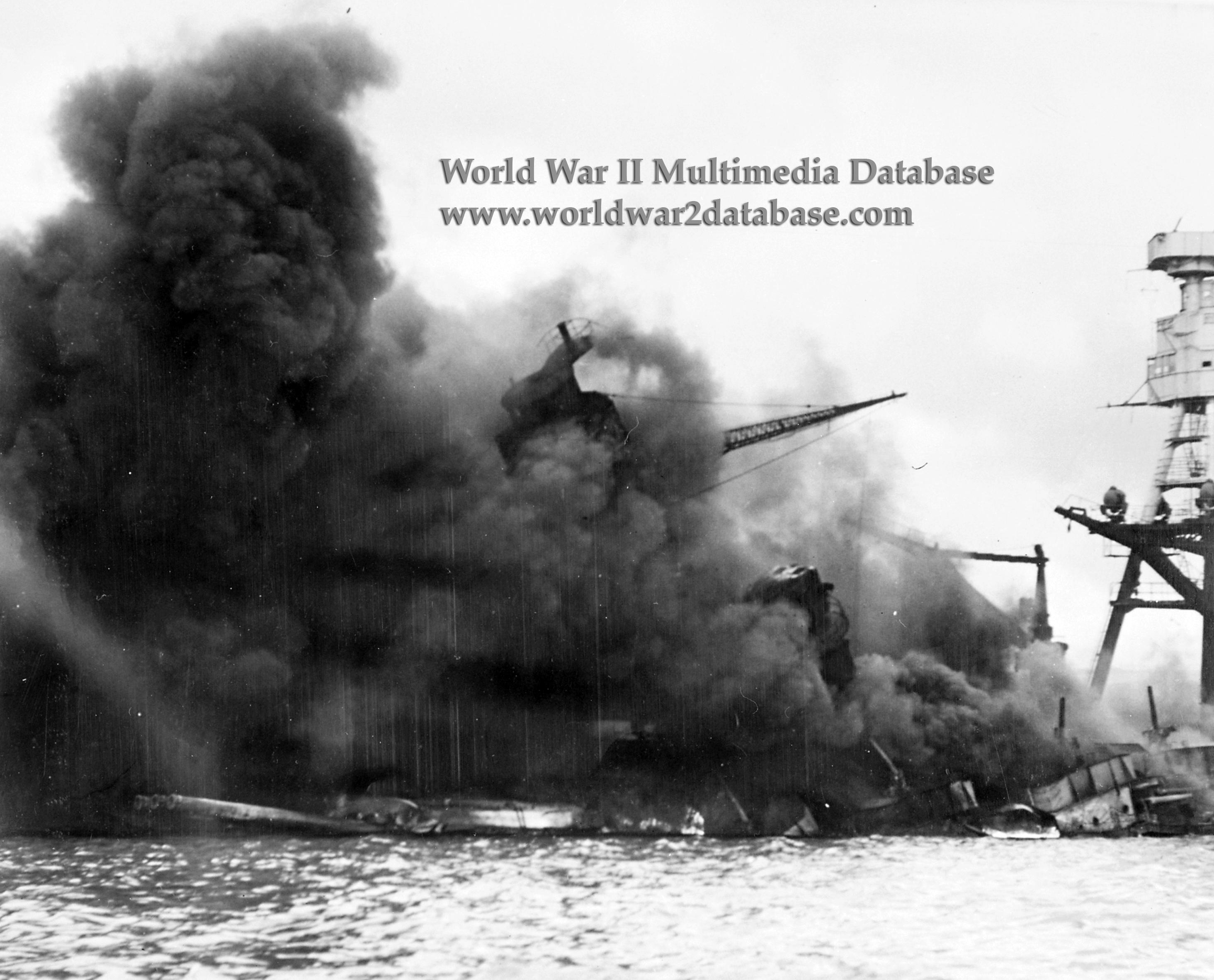 USS Arizona (BB-39) Burns After Japanese Air Attack