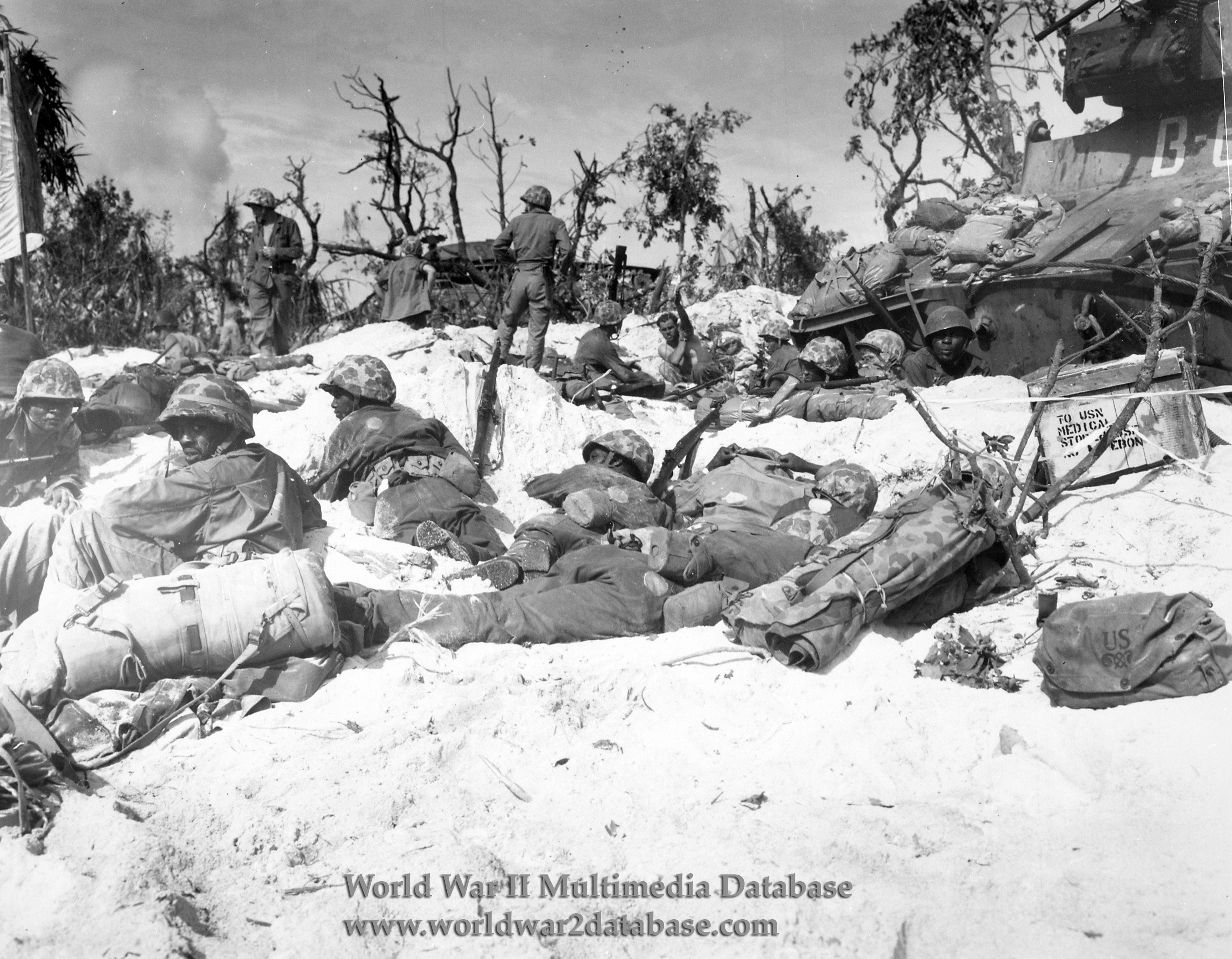 African-American Marines of 16th Field Depot Rest on Peleliu